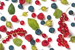 Various fresh summer berries pattern
