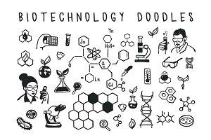 Biotechnology doodles style set