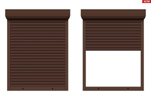 Brown Roller Shutters on Window