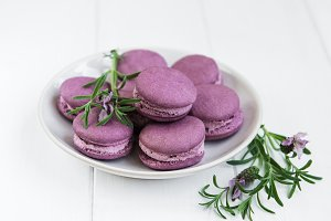 Plate with lavender macarons