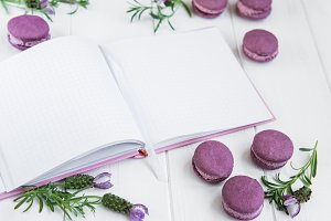 French macaroons, clean notebook and