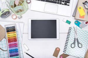 creative desk tablet design header