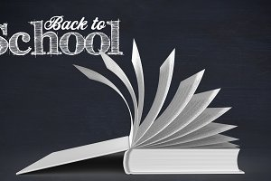 Back to school text and book pages