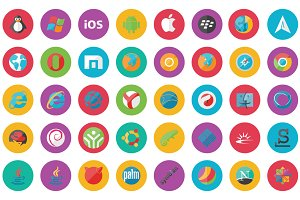 45 Browser And Os Flat Icon Set