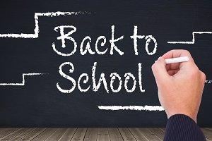 Back to school text with chalk steps