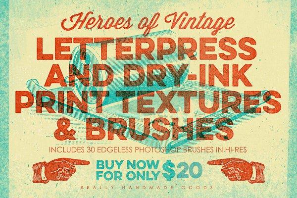 Letterpress & Dry-Ink Print Texture…