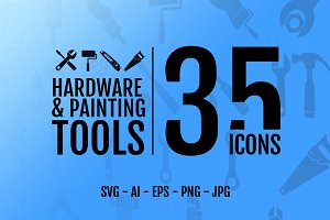 35 icons: Hardware & Painting tool