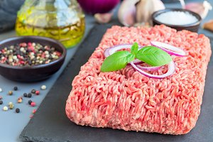 Minced meat from pork and beef. Grou