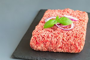 Minced meat from pork and beef, grou