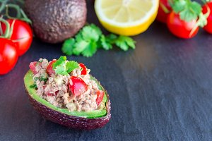Salad with tuna, avocado, tomatos, c