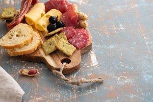 Platter with Spanish ham jamon or