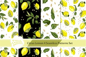 Set with 4 Lemon Seamless Patterns