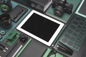 Black green creative tablet mockup