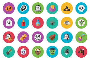 25 Hallooween Flat Icon Set