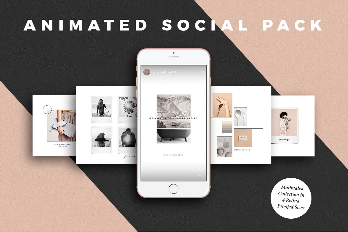 animated minimalist social media kit
