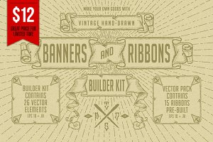 Vintage Banners & Ribbons BuilderKit