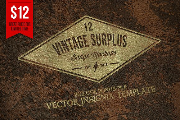 Free Vintage Surplus Badge Mockups