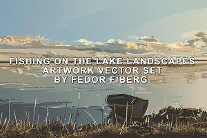 Fishing landscapes artwork vector