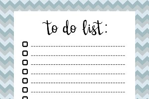 Hand writing To do list, check boxes