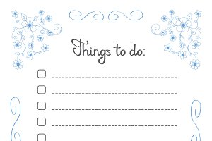 Hand writng Things to do list in blu