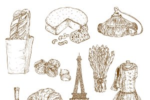 France Hand Drawn Icon Set