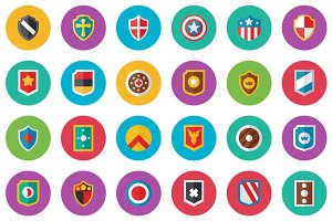40 Shield Flat Icon Set