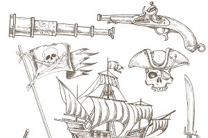 Pirate Elements Hand Drawn Set