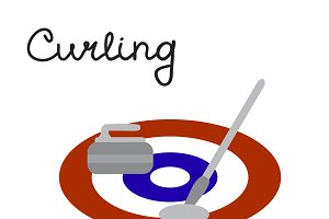 Curling game elements: broom, stone
