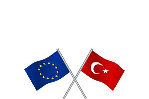 Crossing flags of Europe Union and T