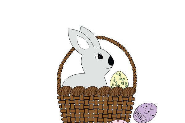 Easter rabbit sits in the basket, c…