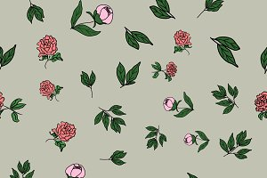 Seamless floral pattern, peony flowe