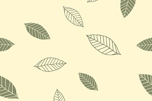 Seamless pattern with green leaves o