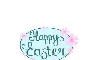 Happy Easter hand lettering in oval
