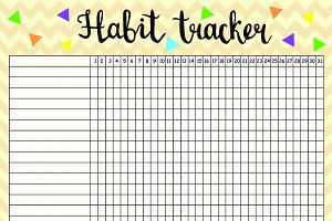 Habit tracker empty blank, monthly p
