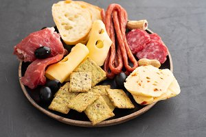 Meat and cheese plate.Traditional