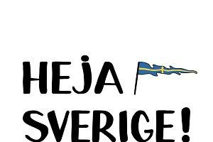 Heja Swerige (Go Sweden) lettering w