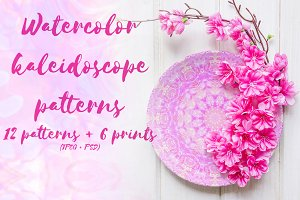 Watercolor  Kaleidoscope Patterns