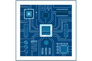 Computer IC chip template microchip