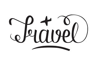 Word Travel hand lettering with litt