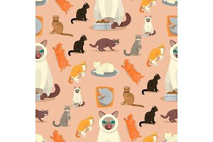 Cat breeds cute kitty pet cartoon
