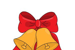 Christmas jingle bells with red bow