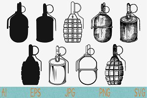 Grenades set vector svg png eps