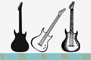 electric guitar set vector svg png