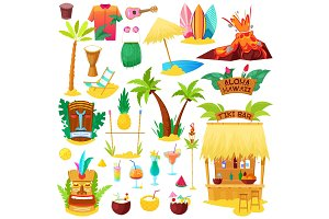 Hawaii vector hawaiian beach with