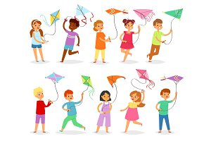 Kids kite vector child character boy