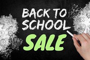 Hand writing Back to school sale