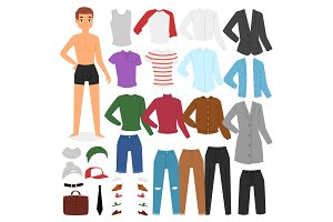 Man clothing vector boy character