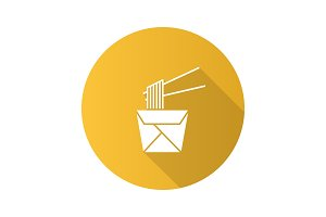 Chinese noodles in paper box icon