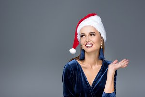 gorgeous woman in santa hat