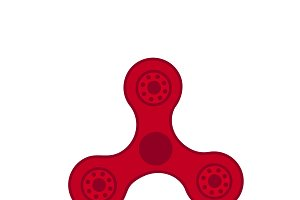 Red spinner, raster illustration